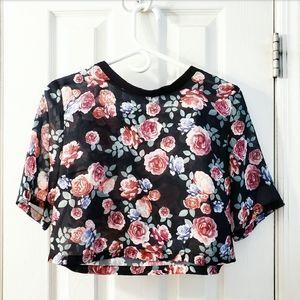 💟 2/$10 + 3/$15 ● sheer floral rose crop top